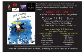 Cabaret Comico: International Partnership for Laughs at San Francisco's Society Cabaret Oct 17-18, 2014