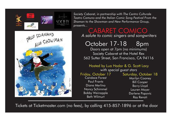 Cabaret Comico: International Partnership for Laughs at San Francisco's Society Cabaret Oct 17-18, 2014