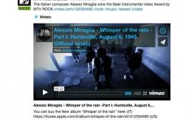 Alessio Miraglia wins BEST INSTRUMENTAL VIDEO 2015 on the MTV ROCK channel!