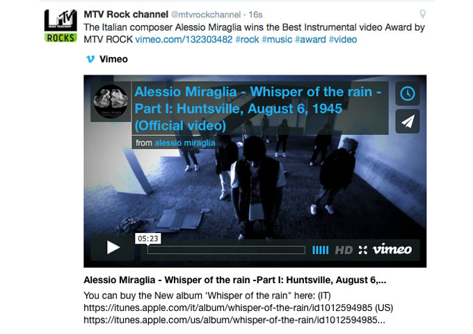 Alessio Miraglia wins BEST INSTRUMENTAL VIDEO 2015 on the MTV ROCK channel!