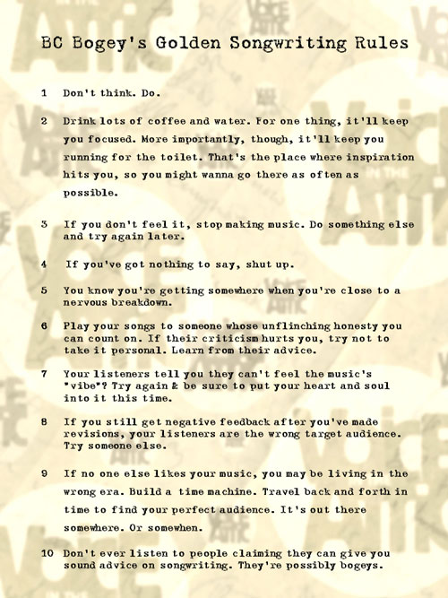 BC Bogey's Golden Songwriting Rules